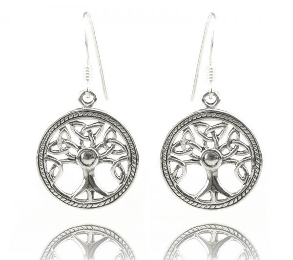 Keltischer Baum Silberohrringe