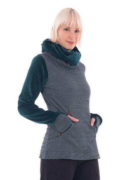 Chapati Herbst Pullover Samtkragen Aqua-grün Winter 2020/21