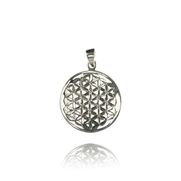 Blume des Lebens konkav Silber Anhänger Kette