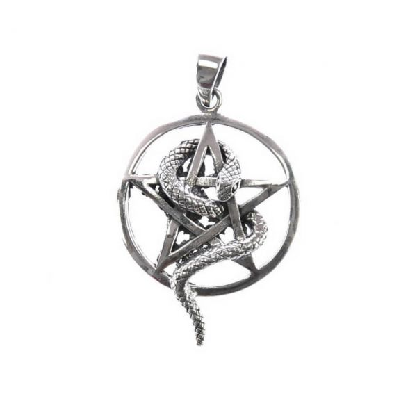 Schlange Pentagram Silberanhänger