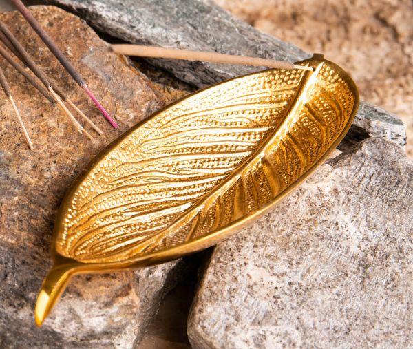 Räucherstaebchenhalter Blatt vergoldet