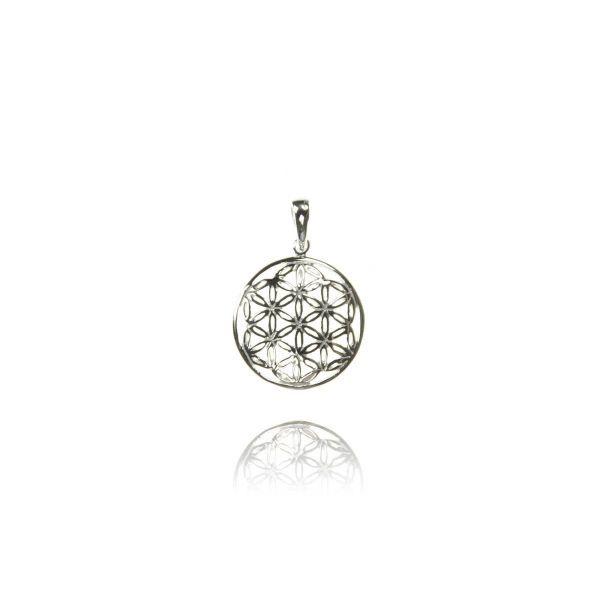 Blume des Lebens kleiner Silber Anhänger Kette
