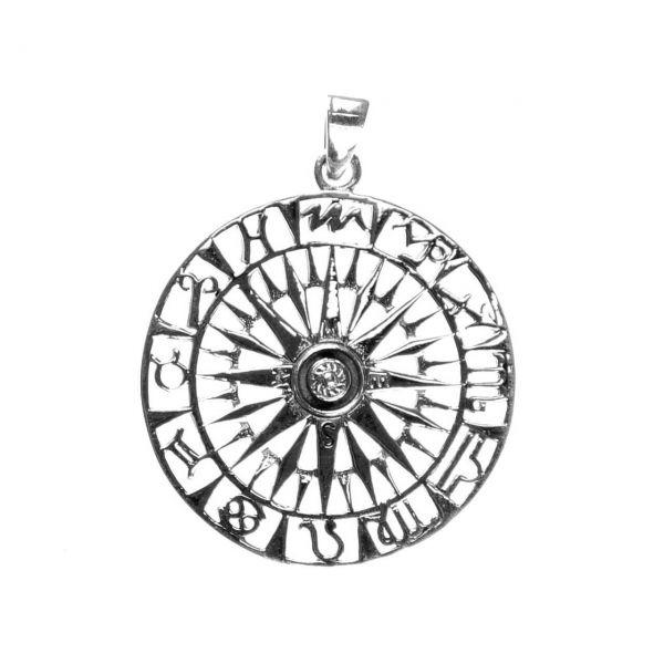 Kompass mit Tierkreis Sternzeichen Anhänger Silber Schmuck