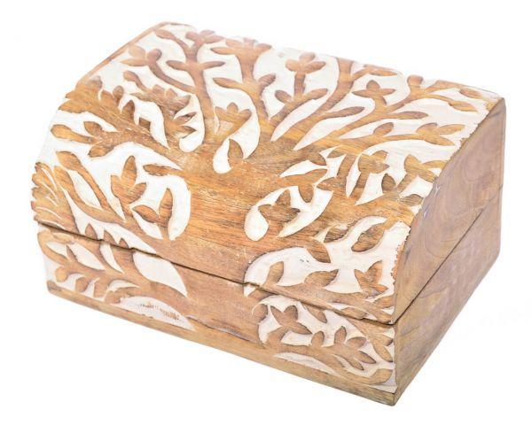 Handgearbeitete Lebensbaum Holztruhe Schmuckkästchen Dose Schatulle