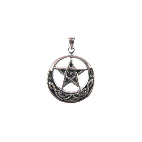 Pentagram im Mond mit keltischem Knoten