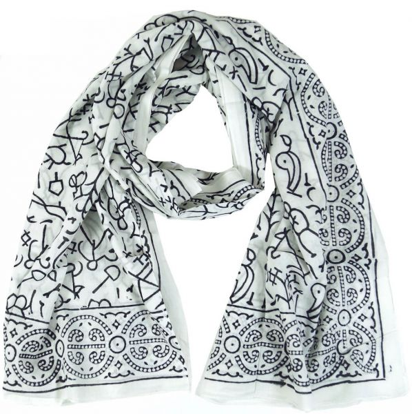 Sarong Traditionelles Indisches MusterSchwarz-Weiss