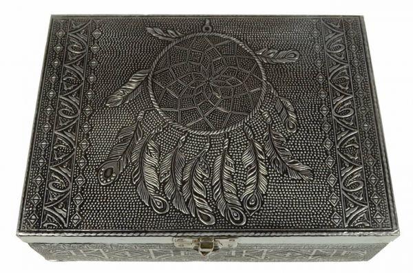 Silbernes Holzkästchen kleine Kiste Traumfänger Relief